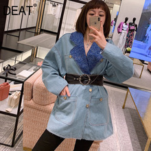 DEAT women fashion design summer clothing turn-down collar full sleeves single breasted denim blue vintgae loose jacket WL96205L cheap COTTON Polyester Short Ages 18-35 Years Old Skew Collar Button REGULAR Streetwear Patchwork Guangzhou 10 The Following