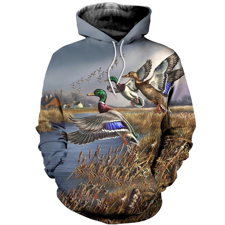 2020 Hot Fashion Men 3D Hoodie Print Hunting Duck Hooded Sweatshirts Unisex Casual Streetwear Hoody Wholesale And Retail