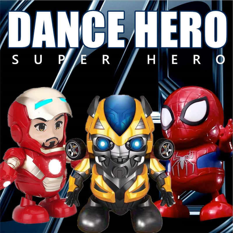 Nuova Danza Iron Man Spider Man Super Hero Con Flash LED Luce Suono Musica Action Figure FAI DA TE MK Iron Man giocattoli FAI DA TE