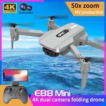 2021 novo e88 mini zangão 4k hd câmera de transmissão em tempo real wifi fpv drones mini dobrável quadcopter helicóptero brinquedos para meninos