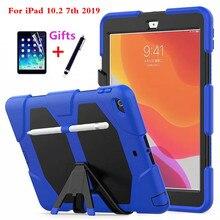 Voor Apple ipad 10.2 2019 7th Generatie A2200 A2198 A2232 Met Potlood Houder Tablet Schokbestendig Heavy Duty Armor Case Cover + gift