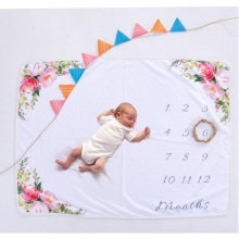 0-12 Month Newborn Baby Milestone Photo Blanket Growth Record Wrap Towel