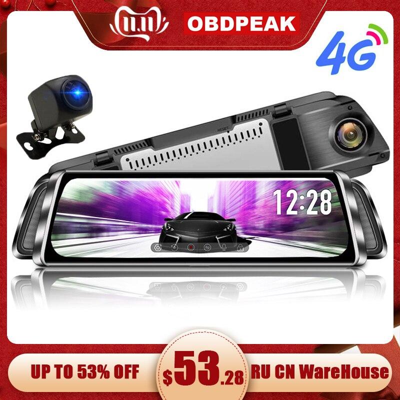 """10 """"flux médias android miroir voiture rétroviseur tableau de bord caméra FHD 1080P Super vision nocturne tactile DVR caméra avec ADAS GPS NAVI"""