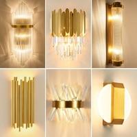 Lampade da parete per interni moderne per camera da letto comodino decorazione soggiorno lampada da parete a LED lampada da parete per bagno lampada da parete in cristallo dorato