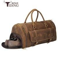 Men Travel Duffle Bags Genuine Leather 22 Large Capacity Casual Tote Hand Shoe Bag Man Business Travel Shoulder Handbags Male