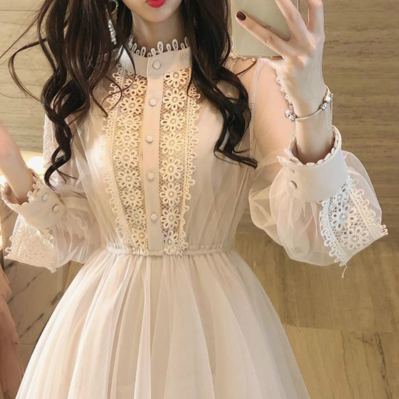 2020 Brand New Stand Collar Long Sleeve Lace Dress Transparent High Waist Layered Cake Dress Sweet Midi Dress Vestidos