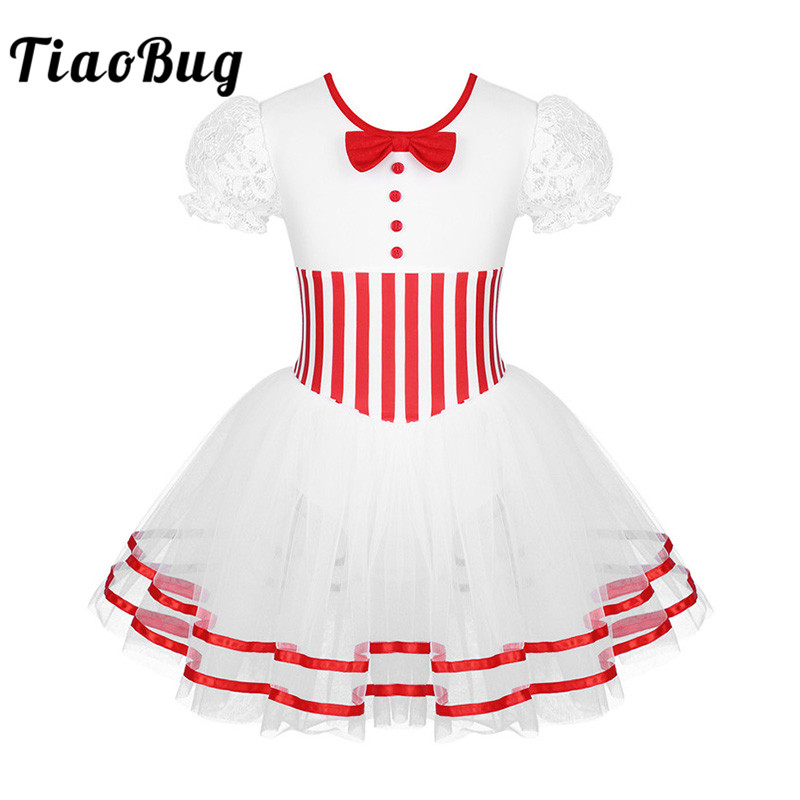 TiaoBug Kids Short Lace Sleeves Striped Mesh Tutu Ballet Figure Skating Dress Gymnastics Leotard Girls Performance Dance Costume