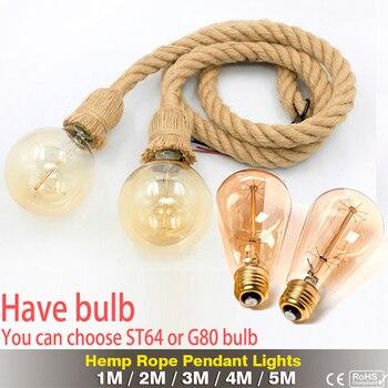 Retro Hemp Rope Pendant Light AC90-260V Vintage E27 LED Light Bulb Pendant Lamp Industrial Lamp Loft Home For Decor HangLamp 4