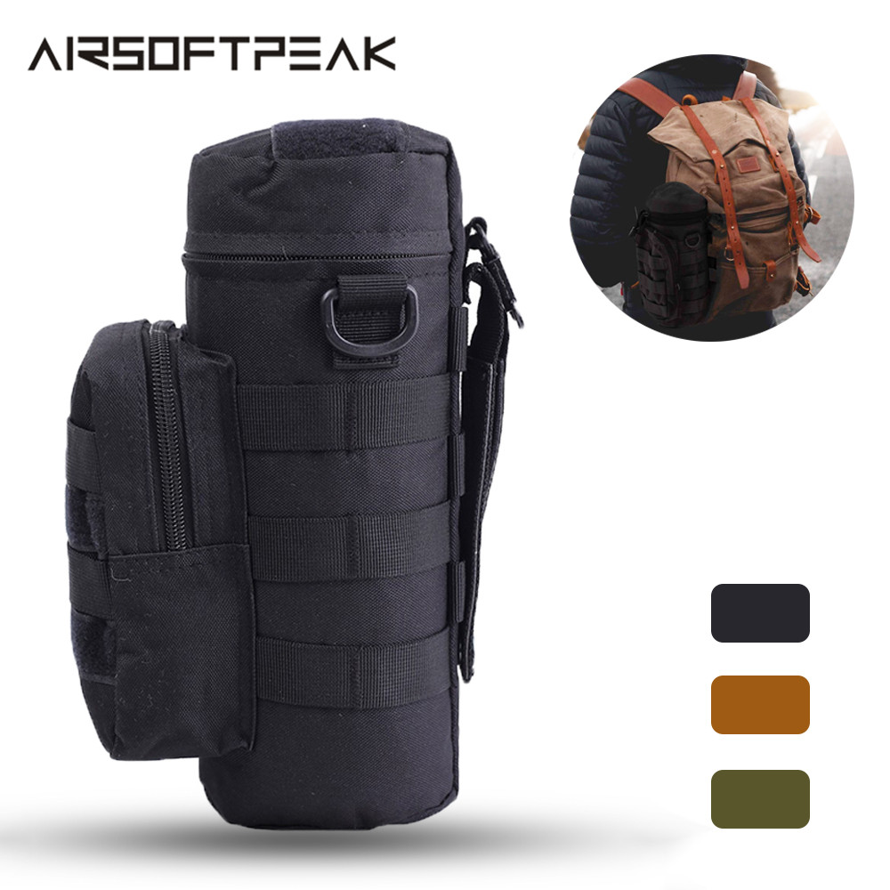 Tactical Water Pouch Molle Water Bottle Pouch Military Gear Kettle Waist Shoulder Bag Nylon Waterproof Travel Climbing Sports