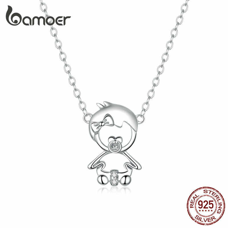bamoer Genuine 925 Sterling Silver Cute Love Baby Choker Necklace for Women Clear CZ Birthday Mother Gift Fine Bijoux SCN368