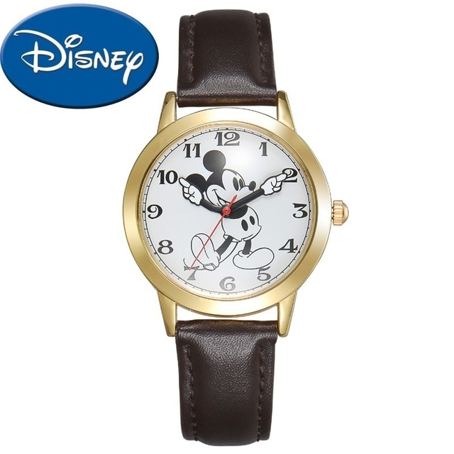 Disney Official Genuine Women Quartz Round Watch Authentic Mickey Mouse Cutie Love Fashion Clock Ladies Leather Band Best Gift