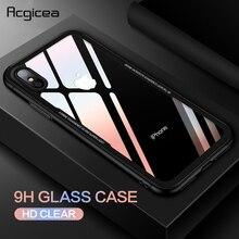 Funda protectora para teléfono móvil de vidrio templado para iPhone X 10 8 7 para iPhone 7 8 Plus suave cubierta trasera dura con marco de TPU