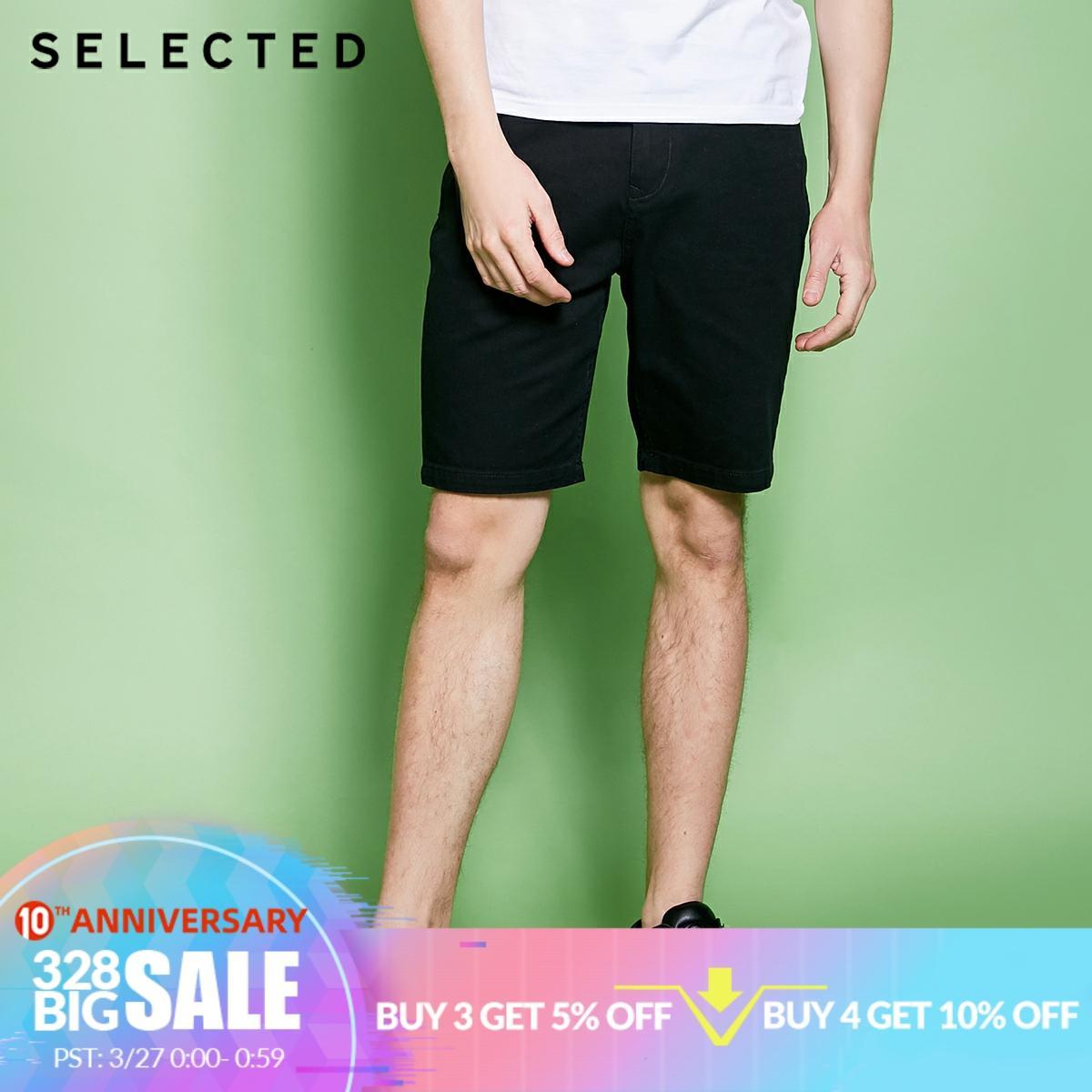 SELECTED Mens Spring 10% Cotton Black Washed Finish Denim Shorts C4182S3517Casual Shorts