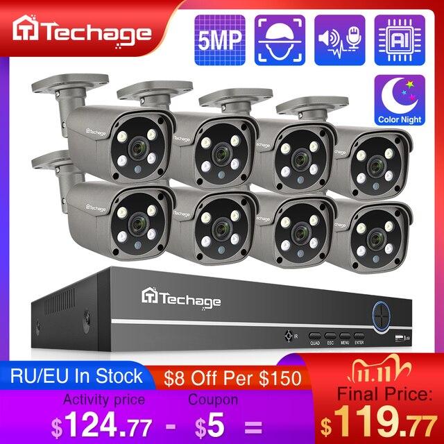 Techage 8CH 5MP HD POE NVR ערכת אבטחת CCTV מערכת שתי דרך אודיו AI פנים לזהות IP מצלמה חיצוני וידאו מעקב מצלמה סט