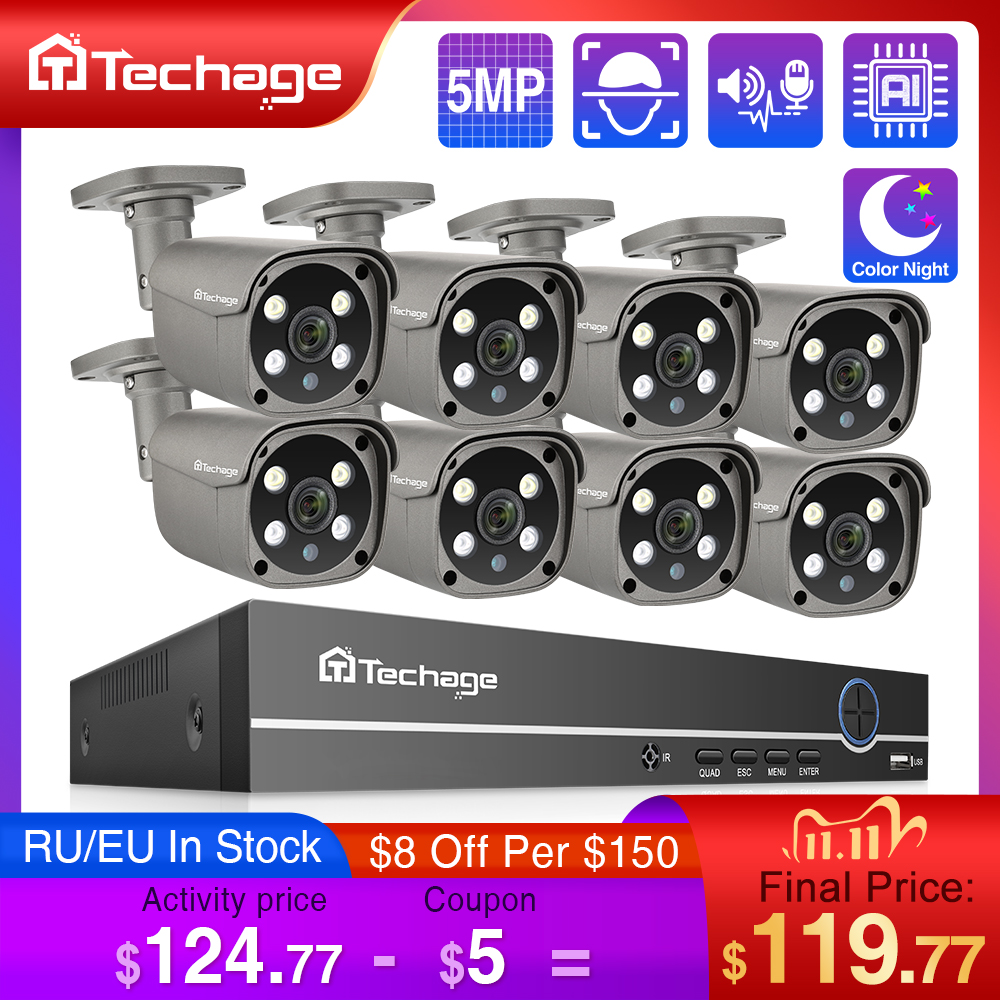 Techage 8CH 5MP HD POE NVR Kit CCTV Security System Two Way Audio AI Face Detect IP Camera Outdoor Video Surveillance Camera Set-0
