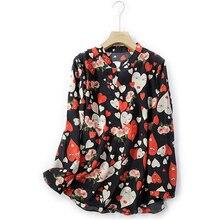 High Street Print Women Blouse 2020 Long Sleeve Natural Silk Camisas Estampadas De Mujer Thin Moda Mujer Ropa summer
