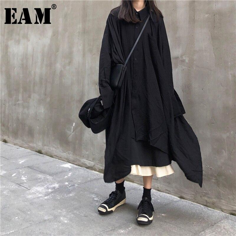 [EAM] Women Black Asymmetrical Hemline Shirt Dress New Lapel Long Sleeve Loose Fit Fashion Tide Spring Autumn 2019 JX299