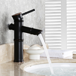 Image 3 - Black Brass Waterfall Bathroom Sink Faucet Vessel Tall Bamboo Water Tap Retro Bronze Oil Rubbed High Single Hole Basin Mixer