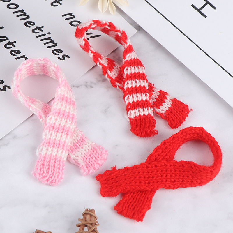 3Pcs Knitting Scarf Ornament DIY Handmade Decorative Supplies Dolls Clothing Sewing Accessories Kid Gift Doll Craft Material Red
