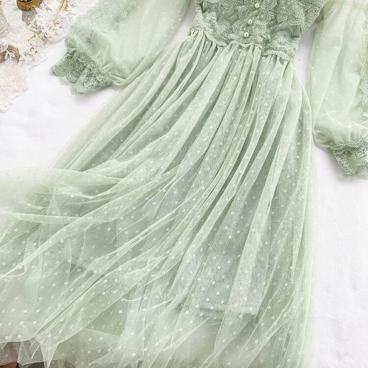 Lace Floral V-Neck Long Sleeve Polka Dot Dress 26