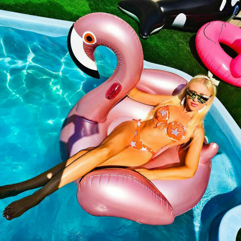 60 Inches Giant Inflatable Rose Gold Flamingo Swan Ride-on Pool Toy Swimming Game Air Mattress Large Floating Island Boat Party