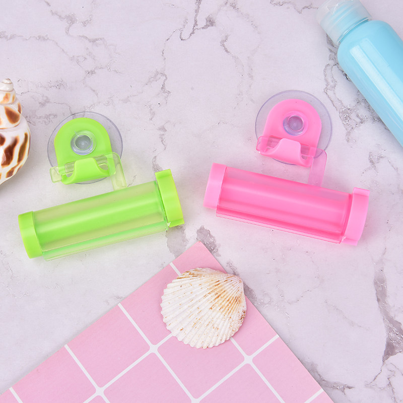 Toothpaste Dispenser Tube Partner Sucker Hanging Holder Storage Rack Organizer Candy Colors Cute Rolling Squeezer