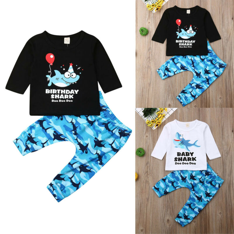 0 3Y Toddler Infant Boys Clothes Baby Shark Letter Printing Long Sleeve Tops Shirt Pants Leggings Autumn Outfits Set 2PCS in Clothing Sets from Mother Kids
