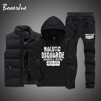 3 Pieces Fur Hooded Fleece Hoodies+Zipper Vest+Sweatpants Winter Thick Warm Tracksuit Men Sporting Tracksuit Coat Sweatsuit 2020 1
