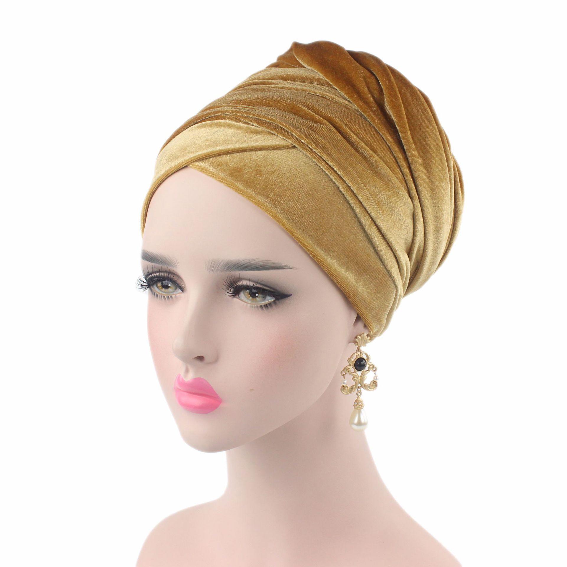 2019 Plain Velvet Hijab Turban Cap Muslim Long-tailed Headscarf Hat Islamic Under Scarf Bonnet Ladies African Wrap Head Scarves