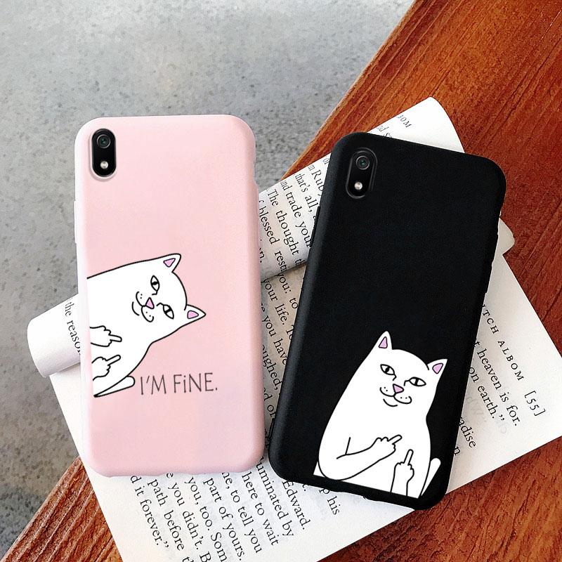 Cute Funny Cat Case For Xiaomi Redmi Note 9 Pro Case Silicon Xiomi Redmi Note 9s 10x 8 8T 8A 7A 6A Mi 10 9T A3 9 Lite K30 Covers(China)
