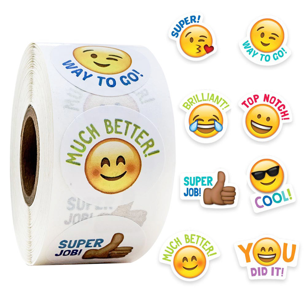 "500pcs/roll Cute Stickers Journal Scrapbooking Smiley Face ""good Job"" Teacher Reward Sticker For Student Stationery Supply"