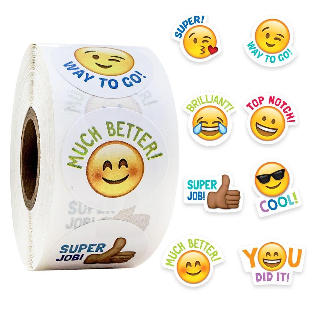 "500pcs/roll Cute Stickers Journal Scrapbooking Smiley Face ""good Job"" Teacher Reward Sticker For Student Stationery Supply"