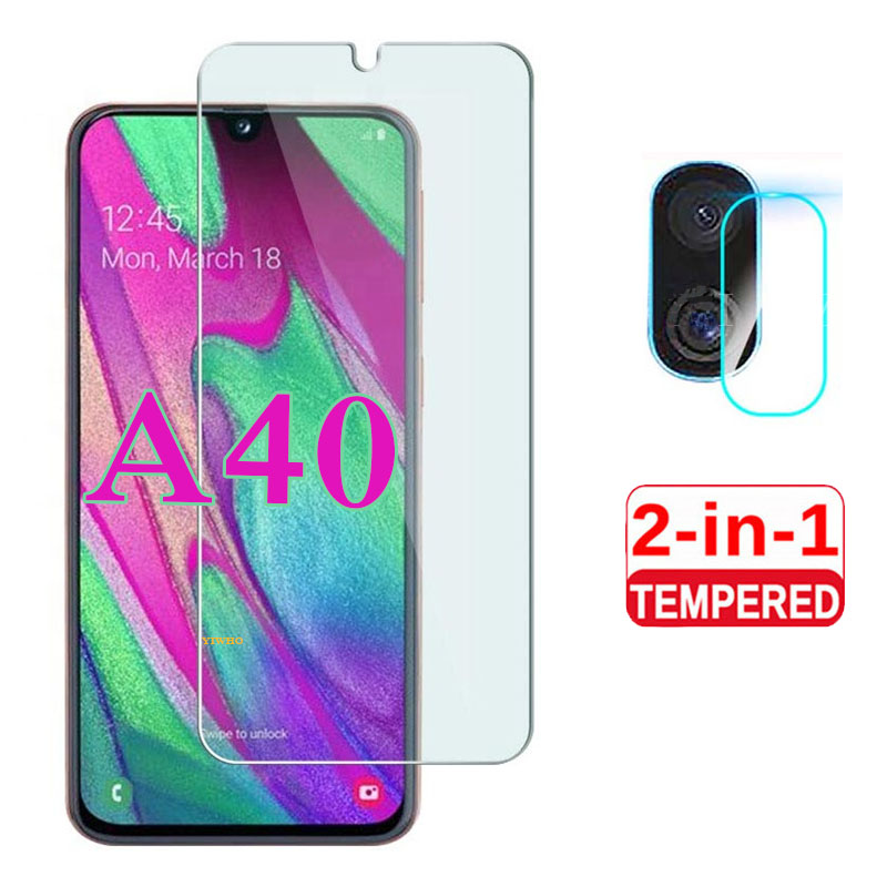 2 In 1 Full Cover On For Samsung Galaxy A40 2019 Screen Protector Transparent Tempered Glas A 40 40a 5.9 Inch Set SM-A405FN/DS