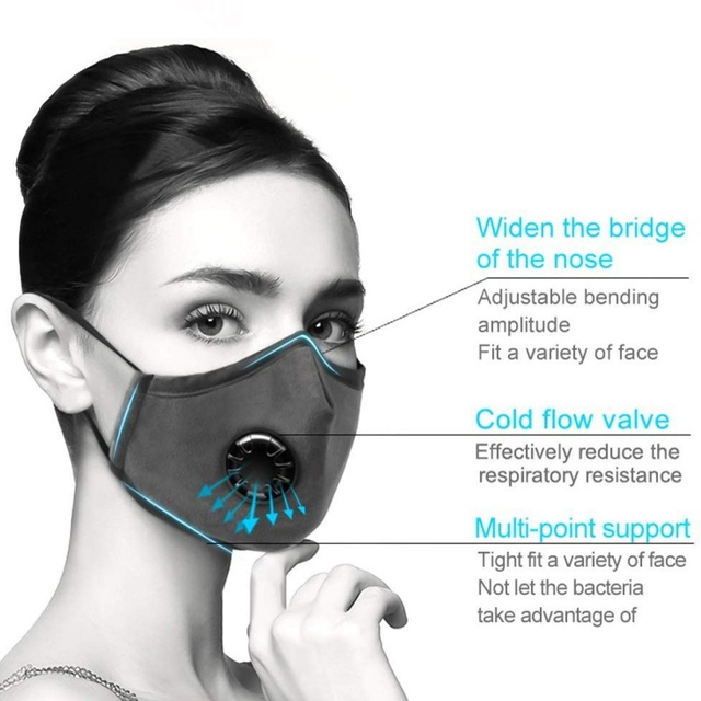 Anti Pollution Mouth Mask With Breathing Valve Adjustable Face Shield Multi-layer Breath Filtration Dust-proof Anti-fog Unisex 5