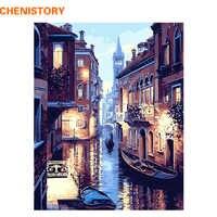 Безрамная Венецианский Ночной пейзаж DIY цифровая картина маслом по номерам Европа Абстрактная Картина на холсте для гостиной настенное иск...
