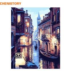 Безрамная Венеция Ночной пейзаж DIY цифровая картина маслом по номерам Европа Абстрактная Картина на холсте для гостиной настенная живопись