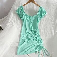 Shirring Sleeveless mini Dress womens summer new bodycon caaual drawstring lace dress Slim solid color bag hip dress vestido