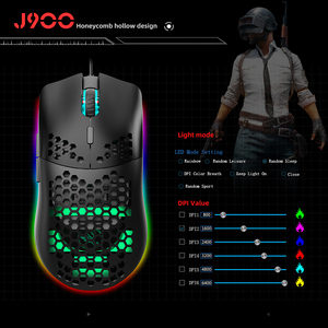 Image 5 - HXSJ J900 USB Wired Gaming Mouse RGB Gamer Mouses with Six Adjustable DPI Honeycomb Hollow Ergonomic Design for Desktop Laptop