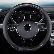 Skórzana osłona kierownicy 38CM dla VW Touran Golf Gti Polo Sedan Passat Santana Jetta Tiguan Gol Sagitar CC Scirocco tanie tanio CN (pochodzenie) Górna Warstwa Skóry Kierownice i piasty kierownicy 0 7kg Protection Steering Wheel DM08182143 for VW All Series