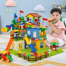 QWZ cennet kale büyük boy yapı taşları uyumlu Duploed inşaat blok DIY eğlence parkı tuğla oyuncaklar çocuklar için