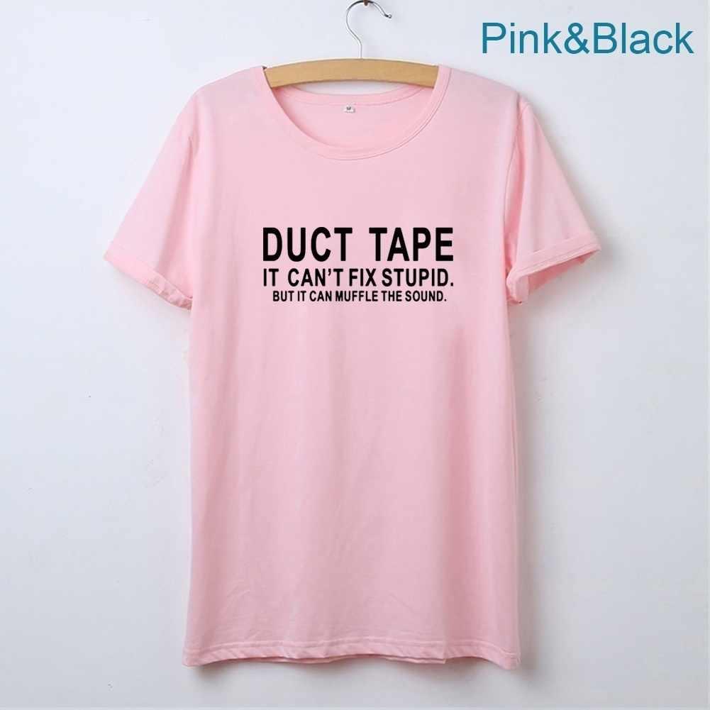 덕트 테이프 그것은 여자를위한 바보 같은 재미 있은 T 셔츠를 고칠 수 없다 정상 짧은 소매 o 목면 티 셔츠 Femme 까만 백색 Tshirt 여자