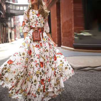 Summer Women Vintage Flowers Print Maxi Dress Fashion Spring Boho Floral Half Sleeve Holiday Beach Casual Long Dresses Vestito 2020 summer vintage floral print long shirt dress women long sleeve a line party maxi dresses