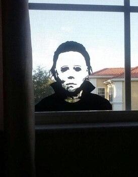 Etiqueta engomada de la ventana de Michael Moon Halloween Horror calcomanías de la sala de estar divertido espejo de la ventana de la puerta del vinilo decoración del arte