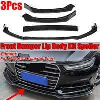 Carbon Fiber Look / Gloss Black 3Piece Car Front Bumper Lip Diffuser Spoiler Splitter Cover Trim For Audi A6 Sport 2016 2018
