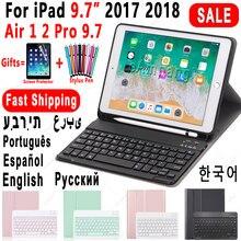 Para ipad 2018 caso do teclado com suporte de lápis para ipad 9.7 2017 2018 5th 6th geração ar 1 2 russo espanhol teclado caso