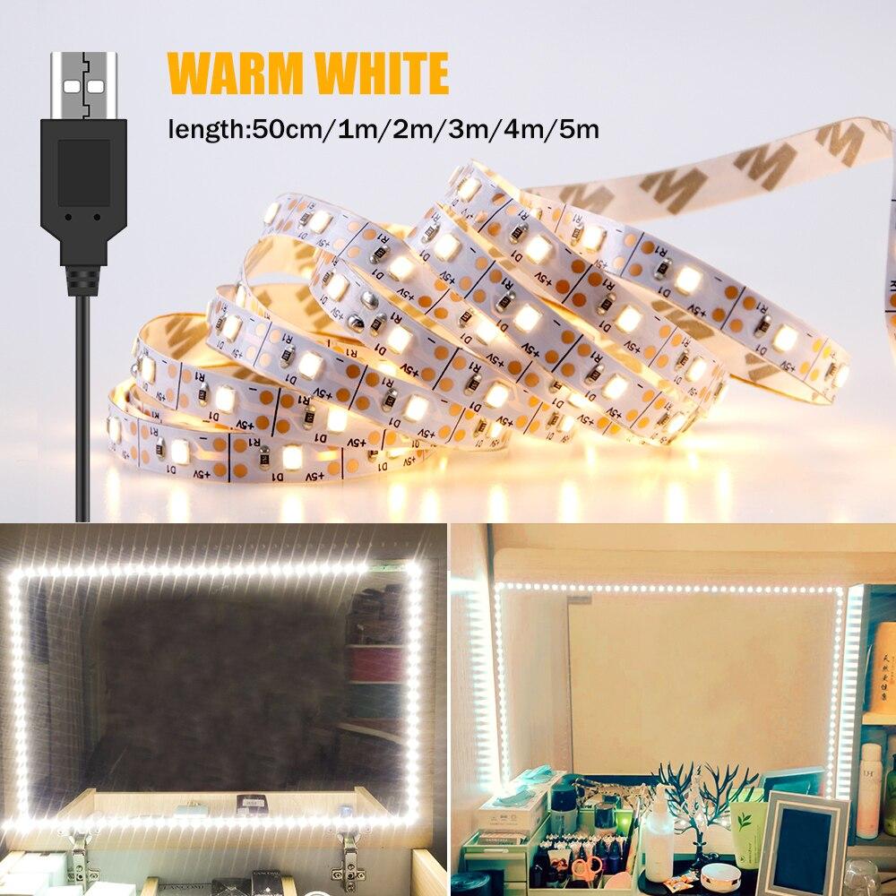 Vanity Makeup Mirror Light Strip 5V LED Flexible Tape Lamp 0.5m-5m USB Powered Dressing mirror Wall Lamp Decor Bathroom Mirror 2