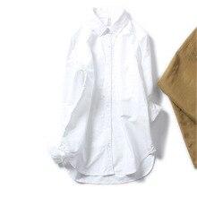 Women White Blouse Shirts Long Sleeve Cotton Loose Tops OL Lady Casual Medium Streetwear Blusas All Match Autumn Korea
