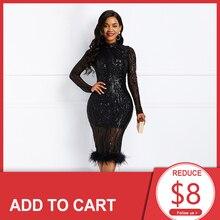Black High Neck Sequins Elegant Cocktail Dress Long Sleeves