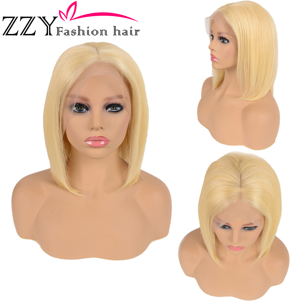 ZZY Fashion Hair Straight Blonde 13x6 Front Lace Human Hair Wig Brazilian Front Lace Wig 150% Density 613 Non-Remy Hair Wig