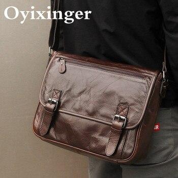 цена на 2020 High Quality Men's Messenger Bag Men Genuine Leather Briefcase Male Shoulder Bags Men Vintage Natural Cowhide Crossbody Bag